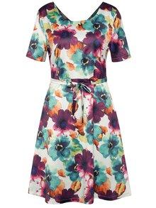 Krémové květované šaty s krátkým rukávem Smashed Lemon