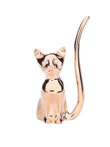Držák na prstýnky v růžovozlaté barvě ve tvaru kočky CGB