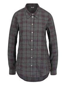 Vínovo-sivá flanelová kockovaná košeľa VERO MODA Check