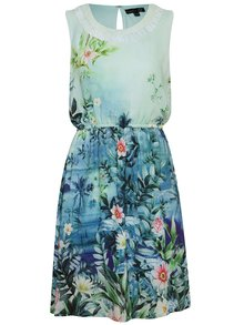Modro-zelené šaty s tropickým motívom Smashed Lemon