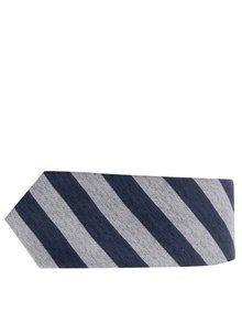 Modro-sivá pruhovaná hodvábna kravata Selected Homme Nolan