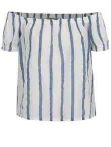 Bluză crem & albastru VERO MODA Stripy cu umerii goi și model în dungi