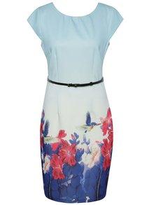 Modré pouzdrové šaty s květovaným potiskem Smashed Lemon
