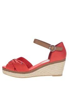 Červené dámske topánky na klinovom podpätku Tommy Hilfiger
