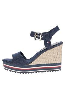 Modré dámské sandály na klínku Tommy Hilfiger