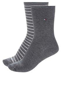Súprava dvoch párov pánskych pruhovaných ponožiek v sivej a bielej farbe Tommy Hilfiger