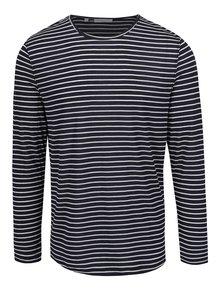 Bílo-modré pruhované triko s příměsí lnu Selected Homme Liam