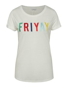 Krémové tričko s výšivkou Jacqueline de Yong Fun