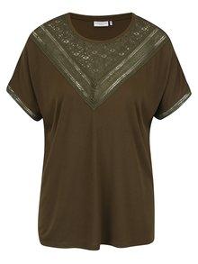 Tmavě zelené tričko s krajkou v dekoltu Jacqueline de Yong Carly