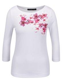 Biele dámske tričko s 3/4 rukávom a potlačou Pietro Filipi