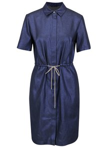 Tmavě modré volné košilové šaty s metalickými odlesky Pietro Filipi