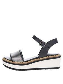 Krémovo-čierne dámske sandále na platforme Tommy Hilfiger