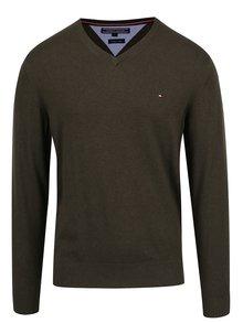 Tmavozelený pánsky ľahký sveter s prímesou ľanu Tommy Hilfiger