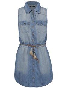 Modré rifľové šaty bez rukávov s opaskom Haily's Antonette