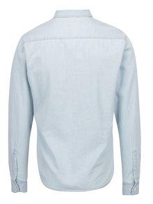 Camasa slim fit bleu din denim cu guler buttons-down ONLY & SONS Carlo