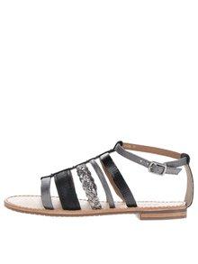 Černé dámské kožené sandály s detaily ve stříbrné barvě Geox Sozy