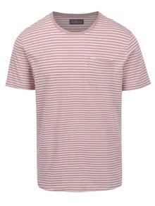 Bílo-růžové pruhované triko s kapsou Jack & Jones Berlin
