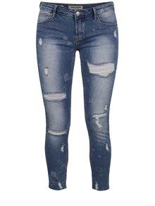 Modré skinny džíny s potrhaným efektem a obrázky TALLY WEiJL