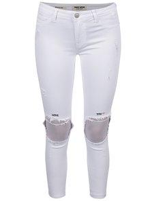 Bílé skinny džíny s potrhaným efektem a výšivkami TALLY WEiJL