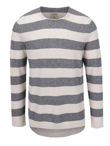 Bluză gri cu bej Jack & Jones Bayamo cu model în dungi