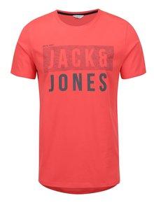 Tricou roșu Jack & Jones Tate cu imprimeu