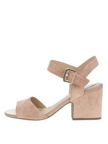 Svetlohnedé semišové sandálky na širokom podpätku Geox Marilyse