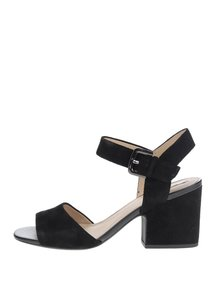 Černé semišové sandálky na širokém podpatku Geox Marilyse