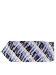 Krémovo-modrá pruhovaná vlněná kravata Selected Homme Norman