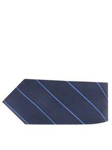 Tmavě modrá pruhovaná hedvábná kravata Selected Homme Nolan
