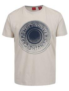 Krémové pánske tričko s modrou potlačou s.Oliver