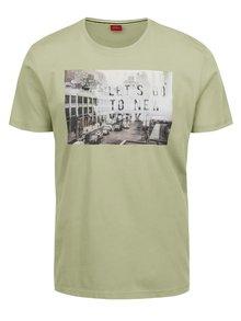 Tricou verde deschis s.Oliver din bumbac cu print