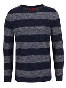Modrý pruhovaný pánsky sveter s.Oliver