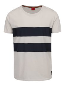 Krémové pánske pruhované tričko s.Oliver