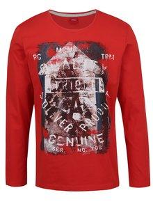 Bluză roșie s.Oliver din bumbac cu print