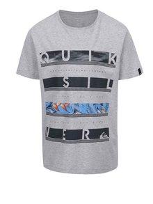 Sivé chlapčenské melírované tričko s potlačou Quiksilver