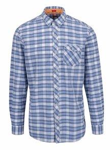 Modrá kostkovaná pánská košile s kapsou s.Oliver