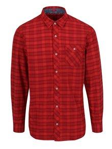 Červená kostkovaná pánská košile s kapsou s.Oliver