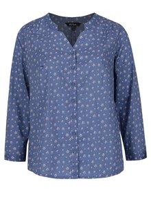 Modrá kvetinová košeľa bez goliera Ulla Popken