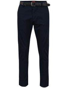 Tmavě modré pánské chino kalhoty s páskem s.Oliver