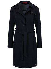 Modrý dámsky dlhý kabát so zaväzovaním s.Oliver