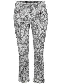 Čierno-krémové vzorované rovné nohavice s vreckami Ulla popken