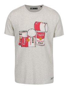 Šedé pánské triko s potiskem Pepe Jeans Cans