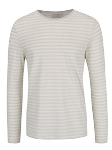 Bluză gri deschis & crem Selected Homme Fredd cu model în dungi