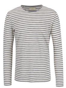 Krémovo-šedé pruhované triko Selected Homme Freddy