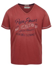 Červené žíhané pánské triko s potiskem Pepe Jeans Governor