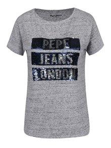 Tricou gri melanj Pepe Jeans Moma cu print