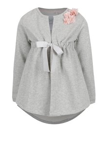 Šedý holčičí cardigan s aplikací květin 5.10.15.