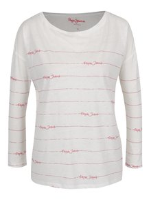 Bílé dámské tričko s červeným potiskem Pepe Jeans Uma