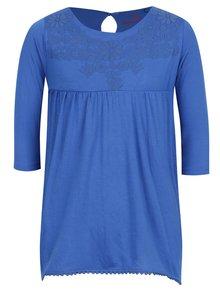 Modré holčičí tričko s květovaným potiskem 5.10.15.