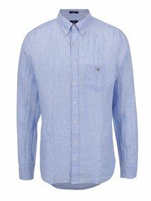 Světle modrá pánská lněná pruhovaná košile GANT Linen